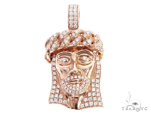 14k Rose Gold Diamond Jesus Pendant 64949 Metal