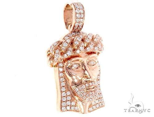 14k Rose Gold Diamond Jesus Pendant 64949 Metal