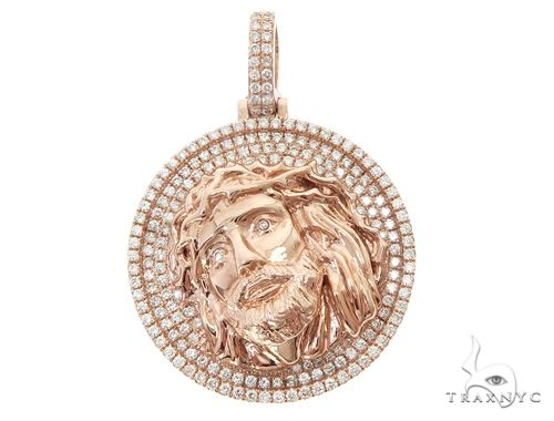 14k Rose Gold Diamond Jesus Pendant 64950 Metal