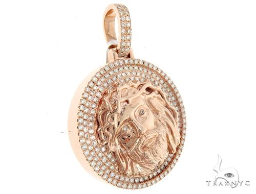 14k Rose Gold Diamond Jesus Pendant 64950 Metal