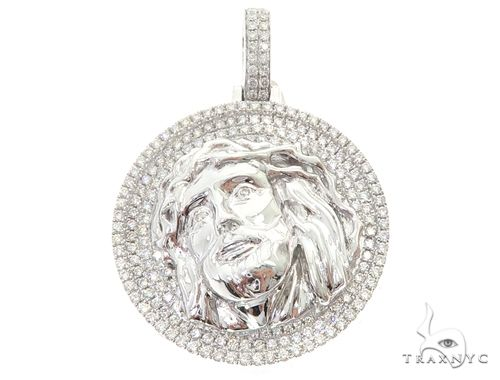14k White Gold Diamond Jesus Pendant 64951 Metal