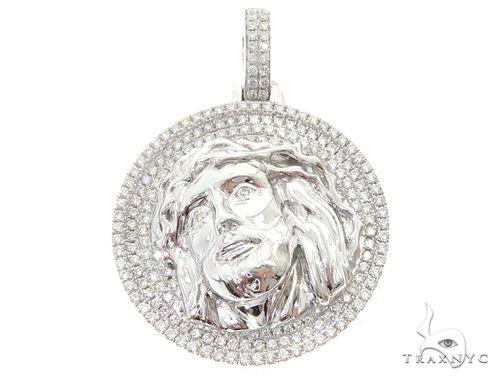 14k White Gold Diamond Jesus Pendant 64951 Metal