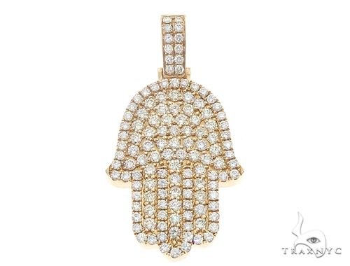 14k Yellow Gold Diamond Hamsa Pendant 64952 Metal