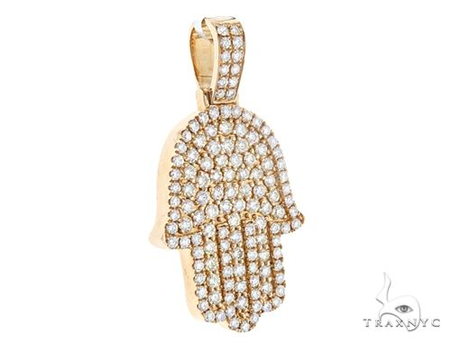 14k Yellow Gold Diamond Hamsa Pendant 64952 Metal