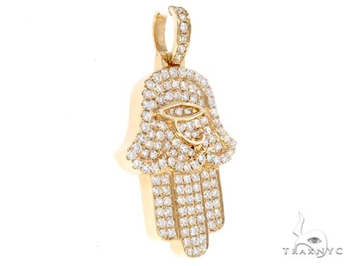 14k Yellow Gold Diamond Hamsa Pendant 64954 Metal