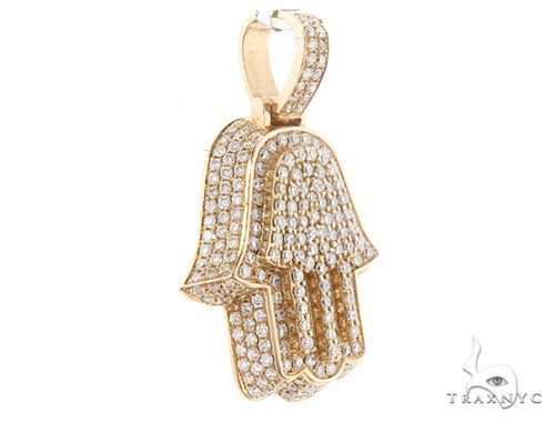 14k Yellow Gold Diamond Hamsa Pendant 64955 Metal