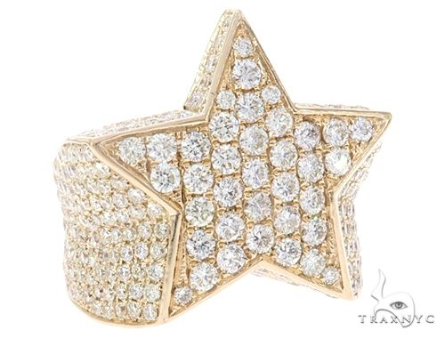 14k Yellow Gold Diamond Star Ring 64961 Stone