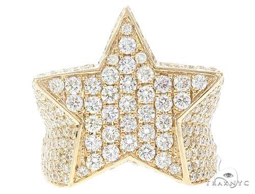 14k Yellow Gold Diamond Star Ring 64961 Stone