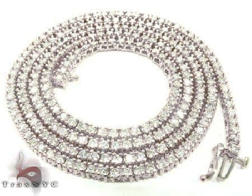 14K White Gold Diamond Tennis Chain 22 Inches 3mm 33.0 Grams 64966 Diamond