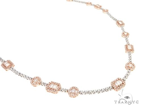 14k Two Tone Rose and White Gold Diamond Chain 64967 Diamond