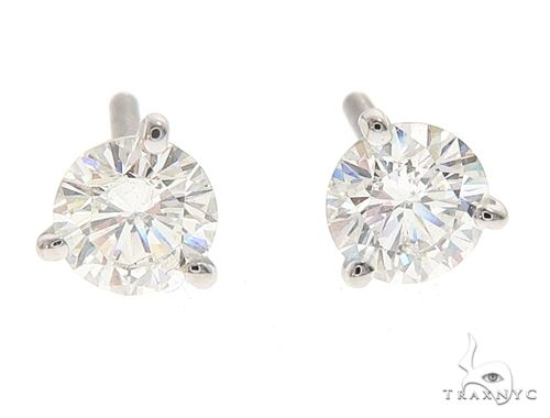 18k White Gold Martini Set Diamond Stud Earrings 64968 Stone