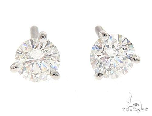 18k White Gold Martini Set Diamond Stud Earrings 64968 Stone
