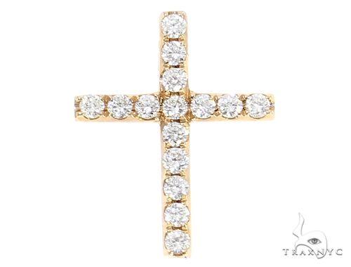 14k Yellow Gold Mini Diamond Cross 64971 Stone