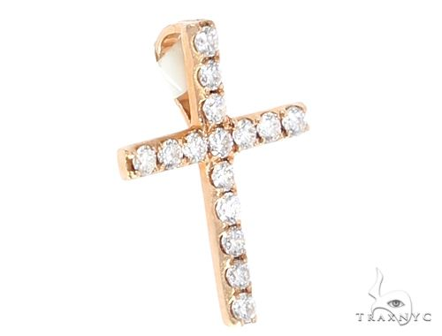 14k Yellow Gold Mini Diamond Cross 64971 Stone