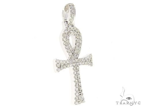 14k White Gold Mini Diamond Ankh 64973 64974 Stone