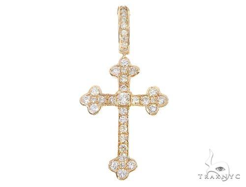 14k Yellow Gold Mini Diamond Cross 64975 Stone
