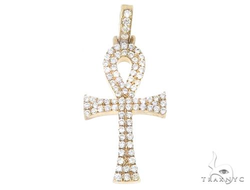 14k Yellow Gold Mini Diamond Ankh 64972 Stone