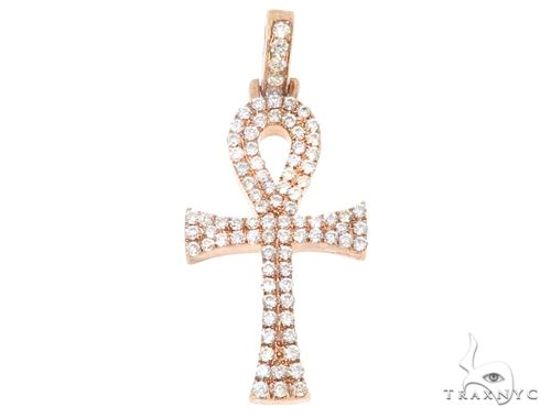 14k Rose Gold Mini Diamond Ankh 64973 Stone