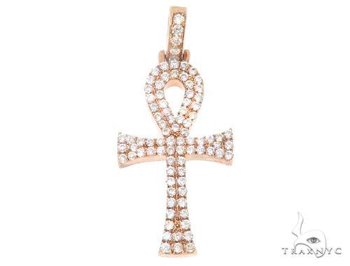 14k Rose Gold Mini Diamond Ankh 64973 Stone