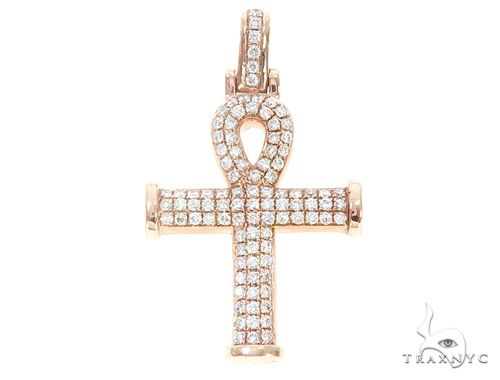 14k Gold Diamond Ankh Pendant 64978 Metal