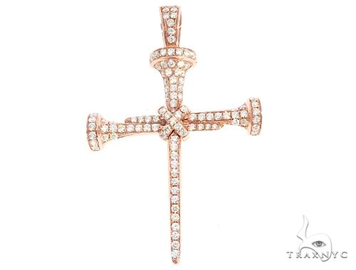 14k Gold Diamond Nail Cross Pendant 64980 Metal