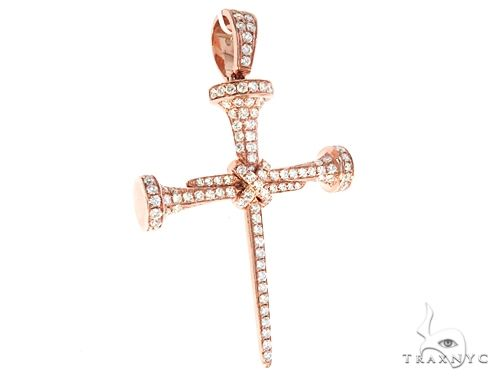 14k Gold Diamond Nail Cross Pendant 64980 Metal