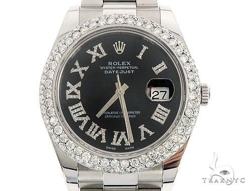 Datejust 41mm Roman Numeral Black Dial Diamond Bezel Stainless Steel Mens Watch 64985 Diamond Watch Inactive