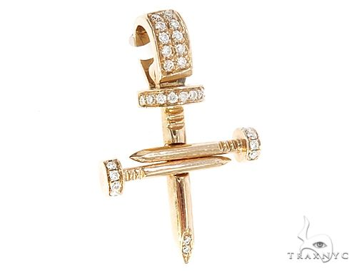 14k Gold Diamond Nail Cross Pendant 64988 Metal