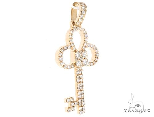 14k Yellow Gold Diamond Key Pendant 64989 Metal