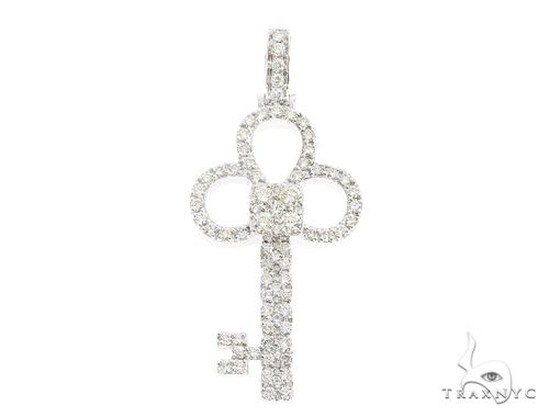 14k White Gold Diamond Key Pendant 64990 Metal