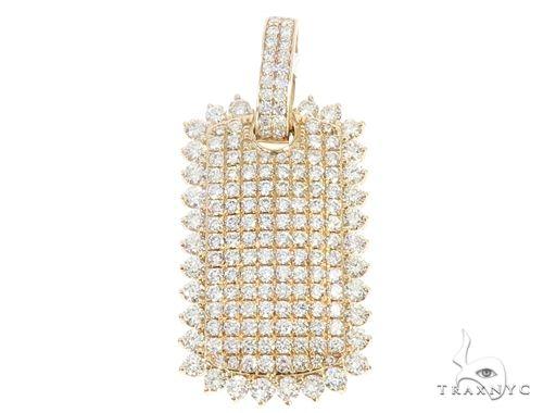 14k Gold Diamond Dog Tag Pendant 64992 Metal