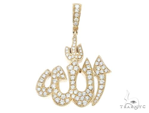 14k Gold Diamond Allah Pendant 64996 Metal