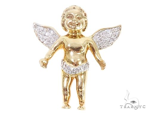 14k Gold Diamond Angel Pendant 64998 Metal