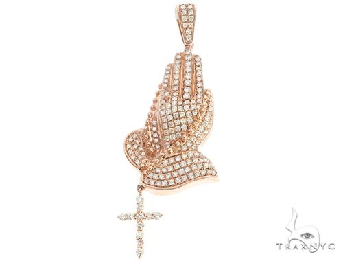 14k Gold Diamond Praying Hands with Rosary Pendant 64999 Metal