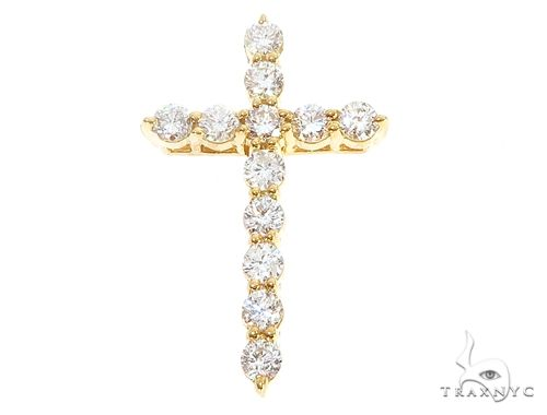 14k Yellow Gold Diamond Cross Pendant 65001 Stone