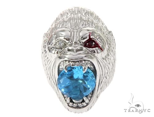 Custom 14K White Gold Diamond Gorilla Pinky Ring 65003 Stone
