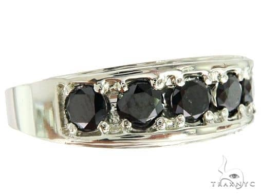 14K White Gold Black Diamond Band 65004 Stone