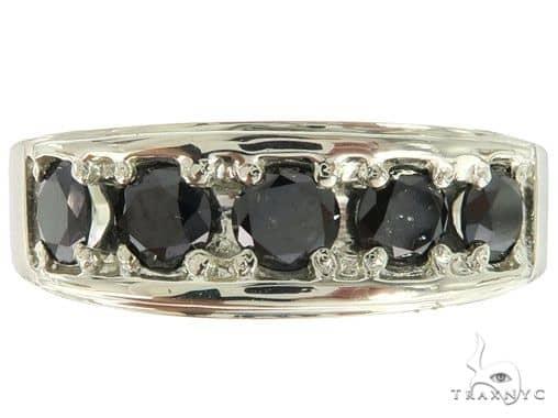 14K White Gold Black Diamond Band 65004 Stone