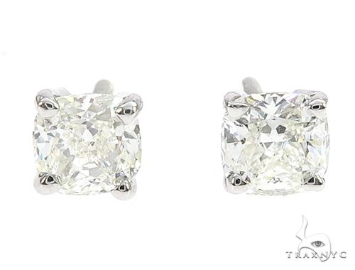 18k White Gold Solitaire Diamond Studs 65006 Stone