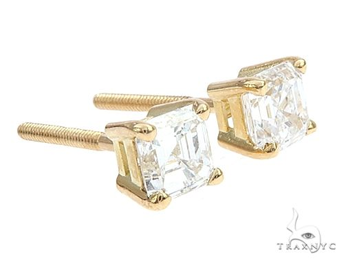 18k Yellow Gold Solitaire Diamond Studs 65007 Stone