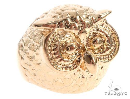 Custom 14K Yellow Gold Owl Ring 65010 Metal