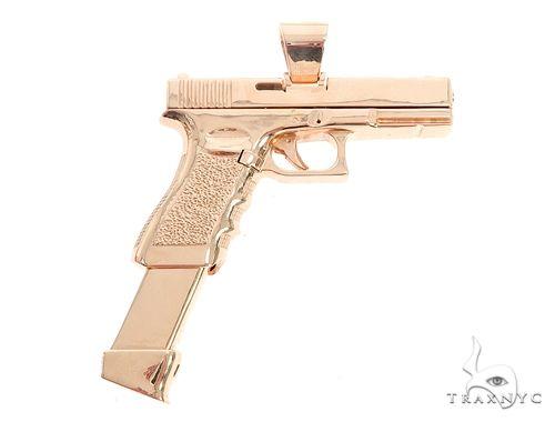 Custom Made 14K Yellow Gold Gun Pendant 65012 Metal