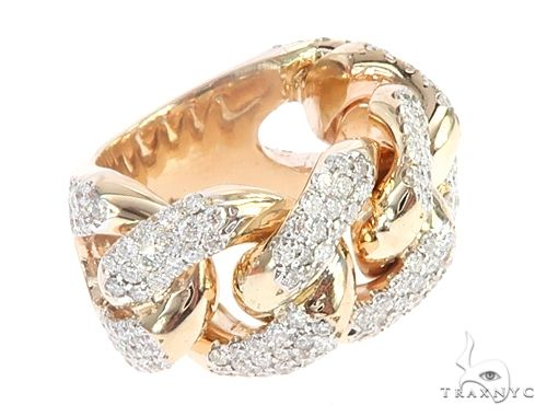 14k Yellow Gold 15mm Diamond Miami Cuban Ring 65016 Stone