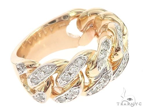 14k Yellow Gold 10mm Diamond Miami Cuban Ring 65017 Stone
