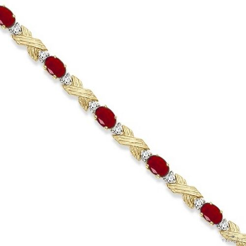 Ruby and Diamond XOXO Link Bracelet in 14k Yellow Gold Gemstone & Pearl