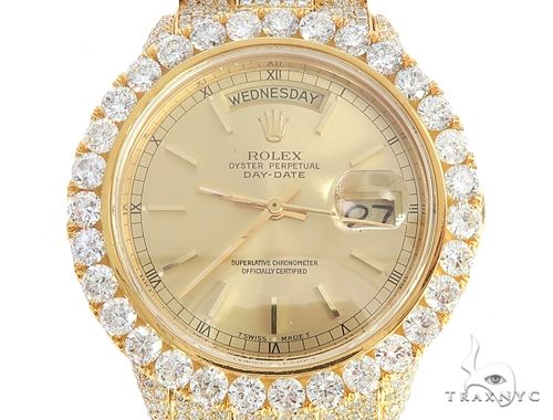 36mm Fully Iced Out 18K Yellow Gold Rolex Presidential Watch 65021