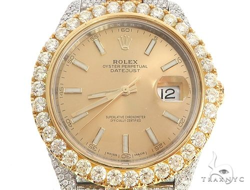 41mm Two Tone Fully Iced Out Rolex Datejust Watch Jubilee Band 65022