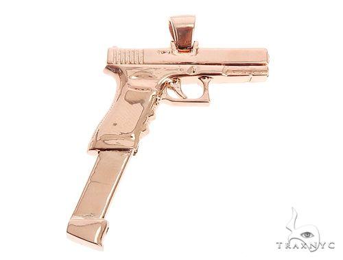 14K Rose Gold Gun Pendant 65026 Metal