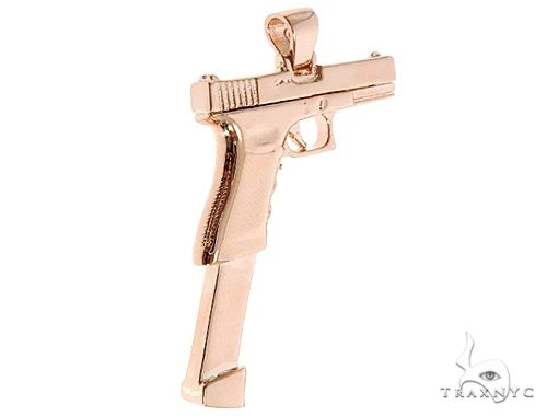 14K Rose Gold Gun Pendant 65026 Metal