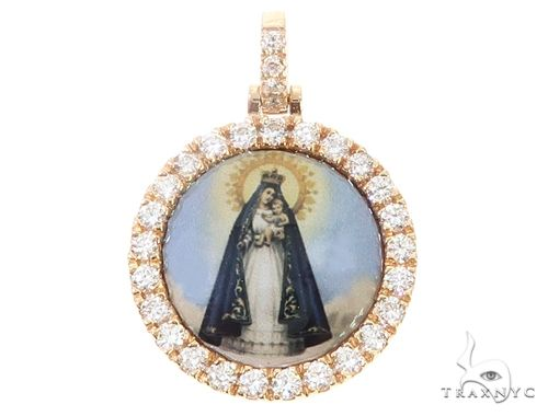 14k Yellow Gold Virgin Mary Diamond Pendant 65027 Stone